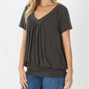 Ash Grey Soft V-Neck Short Sleeve Shirt